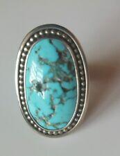Craig Aguoodie Native American Navajo Handmade Kingman Turquoise Silver Ring 8