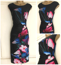 NEW EX COAST BLACK PINK BLUE GREEN FLORAL RUCHED OCCASION DRESS SIZE 6 - 18