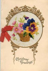 CHRISTMAS GREETINGS: WW1 EMBROIDERED SILK GREETINGS CARD