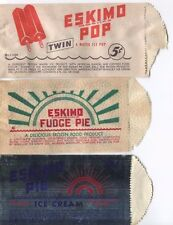 (3) ESKIMO ICE CREAM WRAPPERS Vtg Pie & Twin Popsicle Bags Jackson, Mississippi