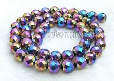 """8mm Multicolor Round Faceted High Quality Hematite Loose Beads strand 15"""" -lo717"""