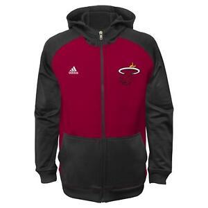 Miami Heat Youth Adidas NBA 2014 Pre Game On-Court Hooded Full Zip Sweatshirt