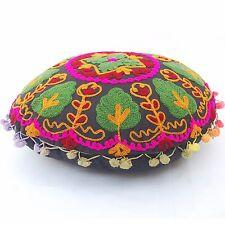 Indian Round Cushion Cover Handmade Pom Pom Uzbek Traditional Suzani Embroidery