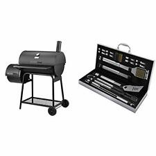 Charcoal Grill with Offset Smoker, Black & Home-Complete Bbq Grill Tool Set