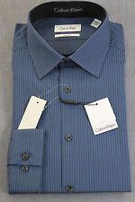 CALVIN KLEIN Men DELF BLUE VERTICAL STRIPED SLIM DRESS SHIRT NWT 16  32-33  $70