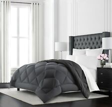 King Size Grey Black Goose Down Alternative Reversible Hypoallergenic Comforter