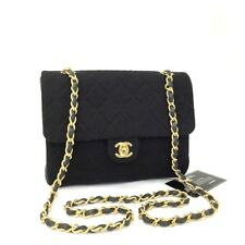 CHANEL Quilted 20 Single Flap CC Turn Lock Cotton Chain Mini Shoulder Bag/hEFE x