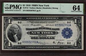 1918 $1 FRBN NY District, Fr 712, PMG 64, NICE!!