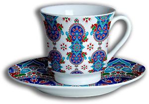 Turkish 12 Piece Tea Set - Porcelain, Ceramic, Cup & Saucer (Set of 6)