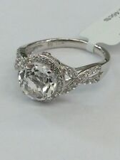 14kt White Gold Twisted Design Diamond Round Shaped White Topaz Ring