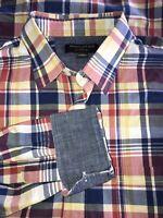 BANANA REPUBLIC Sz LARGE Soft Wash Slim Fit Red Blue Plaid Madras Shirt EUC