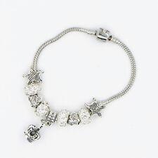 Hot Silver Czech Crystal Rhinestones Spacer Bead European Charm Bracelet ST1