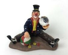 "Sitting Clown Figurine With Top Hat Holding Crystal Ball 3"" Inches Tall"