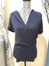Vince Navy Knit Short Sleeve T Shirt Hoodie XS