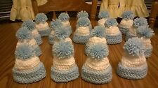 18 new hand crochet baby shower boy party favor gift mini hats decor blue white