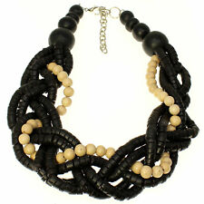 Fashion jewellery chunky black colour wooden bead braided woven choker necklace
