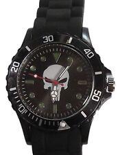 Marvel Comics Punisher Skull Logo Black Silicone Wrist Watch