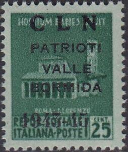 * PP323 Valle Bormida L.25 verde smeraldo soprastampa CLN (8/I) nuovo integro **