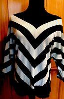 Women's 3/4 Sleeve Sweater Premise Studio Black Mint Green Striped Women's Sz M