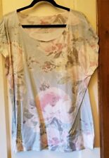 Bass Blue Floral Cap Sleeves Knit Top Tunic XL