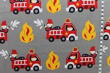 "Jersey "" Feuerwehr "" grau - Kinderstoff"
