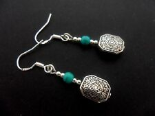 A PAIR OF TURQUOISE BEAD EARRINGS WITH 925 SOLID SILVER HOOKS. NEW..