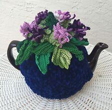 Tea cozy blue tea cover flower tea cosy tea warmer purple scottish thistle