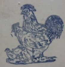 Old Stoneware Pottery ROOSTER CHICKEN CHICK Water Feeder Crock Blue & White Farm