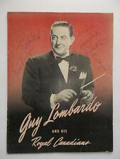 AUTOGRAPHED GUY LOMBARDO & ROYAL CANADIANS TOUR BOOKLET