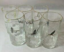 Vintage Set Of 6 Fly-tying Fishing/Fishing/Fly Fishing Drinking Glasses RARE