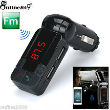 Car Kit Dual USB Charger Wireless Bluetooth Handsfree FM Transmitter Stereo MP3