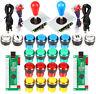 For Raspberry Pi Arcade Stick Kit 2 Joystick 20x 30mm 5V LED Full Color Buttons