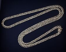 925 Sterling Silver CUBAN Chain Gold Plated with CZ Stones