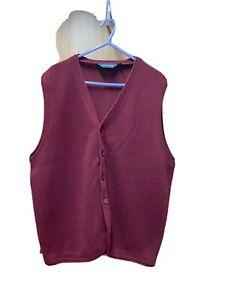 "Men's Wools Waistcoat From Debenhams In Plum Colour 40"" Chest VGC"