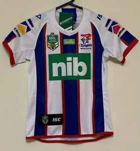 NEWCASTLE KNIGHTS NRL KIDS WHITE RUGBY LEAGUE JERSEY SIZES 8-14