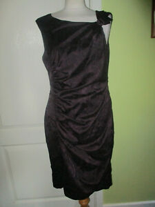 PHASE EIGHT SIZE 16 WOMENS PLUM /BLACK FLORAL ROOCHED SATIN PENCIL DRESS LINED