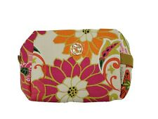New Spartina 449 Canvas Cosmetic Makeup Toiletry Bag Pouch Kit Pink Floral Zip