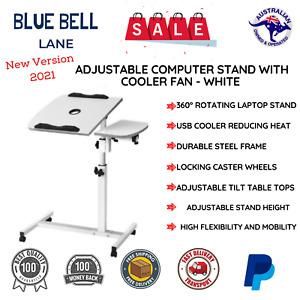 Mobile Adjustable Desk Laptop Computer Stand Over Bed Bedside Table Notebook