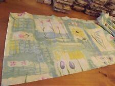 "Yellow & Aqua Floral Blouson Valance 83Wx18""Pink Purple Flowers"