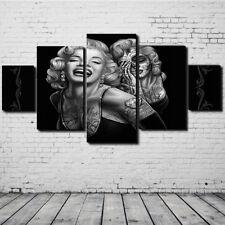 5Pcs Marilyn Monroe Esqueleto Femenino Óleo Pintada Impresión Pared Decoración