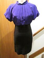 BCBG Maxazria Two Tone Purple Black Short Sleeve Dress SZ M