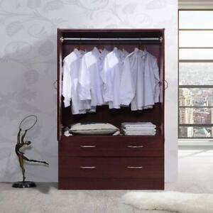 Bedroom Armoire 2-door 2-drawers wardrobe storage closet cabinet wood Home NEW