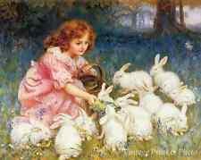 Feeding the Rabbits by Frederick Morgan - Art Little Girl Basket 8x10 Print 0816
