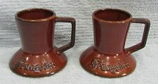 Pair vintage 1970's Frangelico Brown Pottery Old Wide Travel Coffee Mugs FREE SH