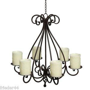 Kronleuchter shabby Vintage Kerzen Ständer Leuchter  halter 6 Kerzen Eisen 95230