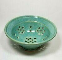 Granville Turquoise Pottery Small Berry Strainer Stoneware Modern Kitchen Decor