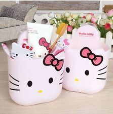 New Hello Kitty Toothbrush Holder Bathroom Mount Stand Toothpaste Cup Organizer