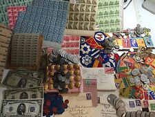 MEGA LOT(19) WWII COINS+CURRENCY+STAMPS+TOKENS+PIN-UPs+UNIFORM+MEMORABILIA