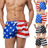 Men's Summer American Flag Print Swim Trunks Swimwear Beach Boardshorts Fashion