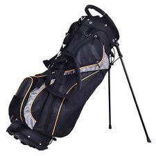 "9"" Golf Stand Bag Club 7 Way Divider Carry Organizer Pockets Storage Black New"